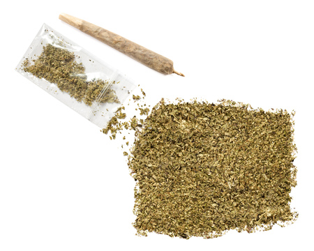 equatorial: Grinded weed shaped as Equatorial Guinea and a joint.(series) Stock Photo