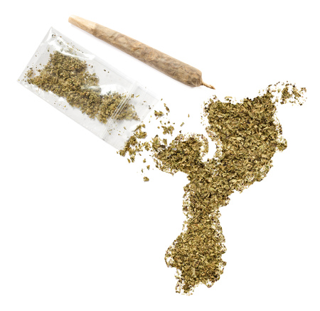 grinded: Grinded weed shaped as Mozambique and a joint.(series)