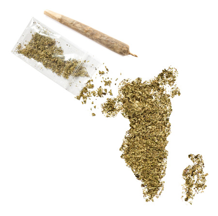 middle joint: Grinded weed shaped as Bahrain and a joint.(series)