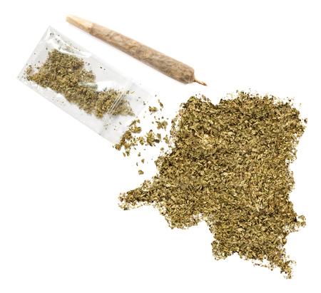 grinded: Grinded weed shaped as Democratic Republic of the Congo and a joint.(series)