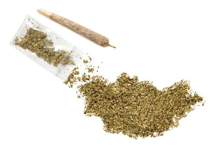grinded: Grinded weed shaped as Mongolia and a joint.(series) Stock Photo
