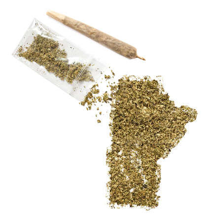 manitoba: Grinded weed shaped as Manitoba and a joint.(series) Stock Photo