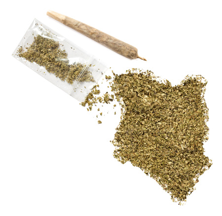 grinded: Grinded weed shaped as Kenya and a joint.(series)