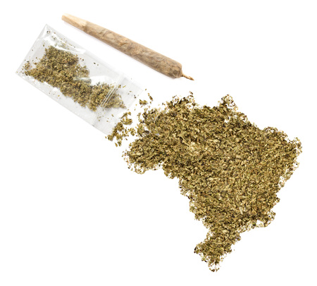 grinded: Grinded weed shaped as Brazil and a joint.(series) Stock Photo