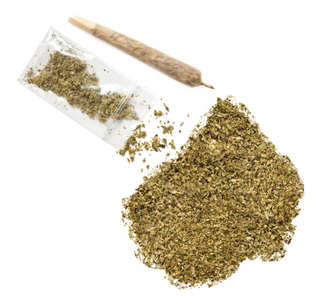 grinded: Grinded weed shaped as Lesotho and a joint.(series) Stock Photo