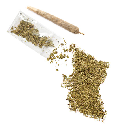 grinded: Grinded weed shaped as British Columbia and a joint.(series)