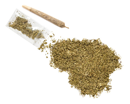 grinded: Grinded weed shaped as Lithuania and a joint.(series) Stock Photo