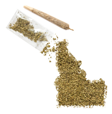 grinded: Grinded weed shaped as Idaho and a joint.(series)