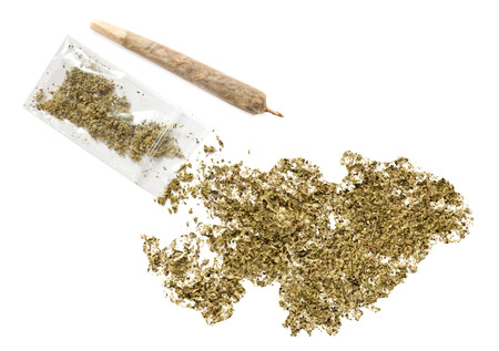 grinded: Grinded weed shaped as Falkland Islands and a joint.(series) Stock Photo