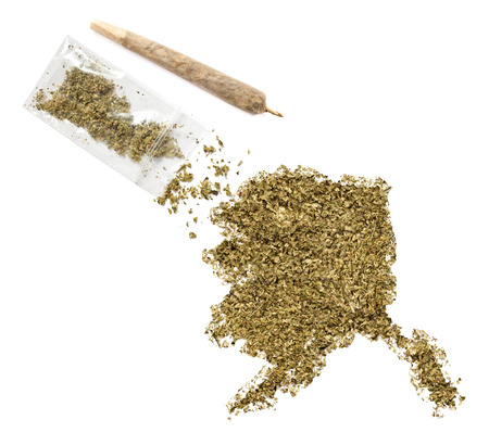 grinded: Grinded weed shaped as Alaska and a joint.(series)