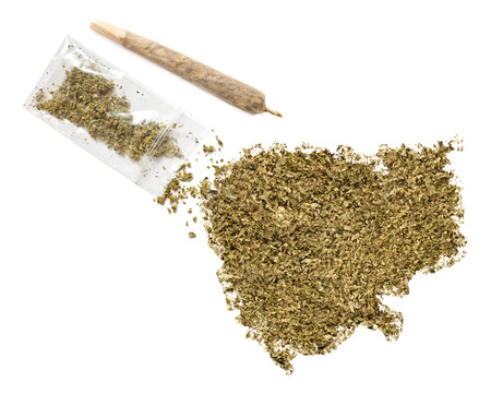 grinded: Grinded weed shaped as Cambodia and a joint.(series)