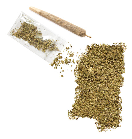grinded: Grinded weed shaped as Mississippi and a joint.(series)