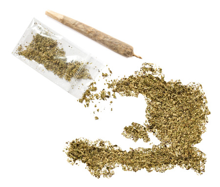 grinded: Grinded weed shaped as Haiti and a joint.(series)