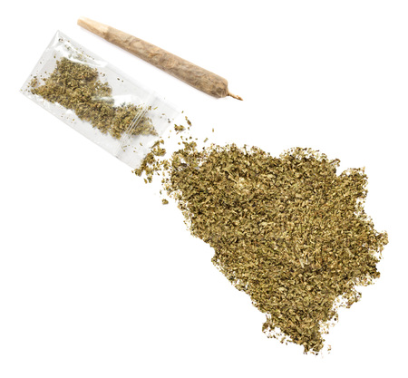 grinded: Grinded weed shaped as Bosnia and Herzegovina and a joint.(series) Stock Photo