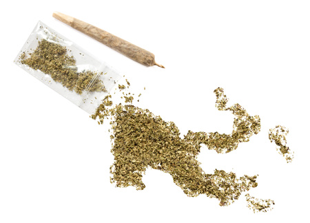 grinded: Grinded weed shaped as Papua New Guinea and a joint.(series)