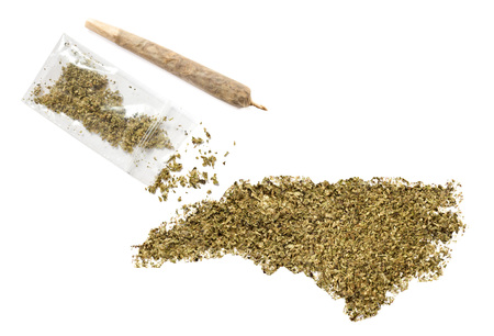 grinded: Grinded weed shaped as North Carolina and a joint.(series)