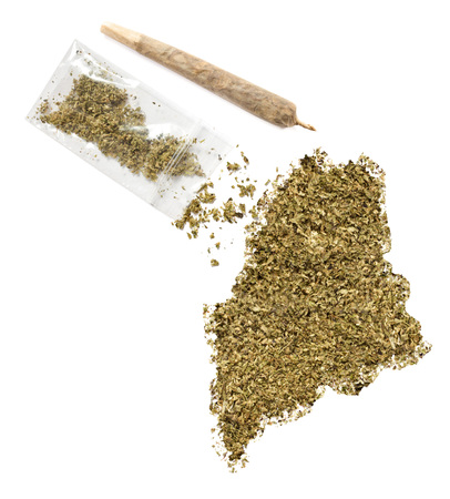grinded: Grinded weed shaped as Maine and a joint.(series) Stock Photo