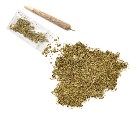 grinded: Grinded weed shaped as Andorra and a joint.(series)