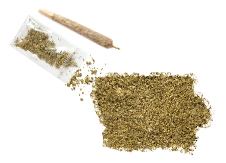 grinded: Grinded weed shaped as Iowa and a joint.(series)