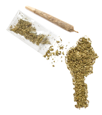 grinded: Grinded weed shaped as Benin and a joint.(series)