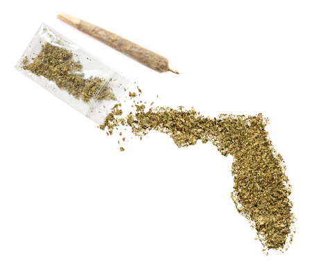 floridian: Grinded weed shaped as Florida and a joint.(series) Stock Photo