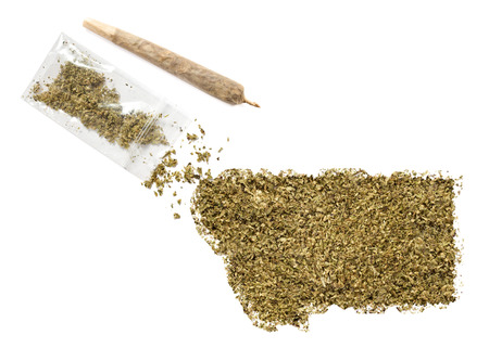 grinded: Grinded weed shaped as Montana and a joint.(series)