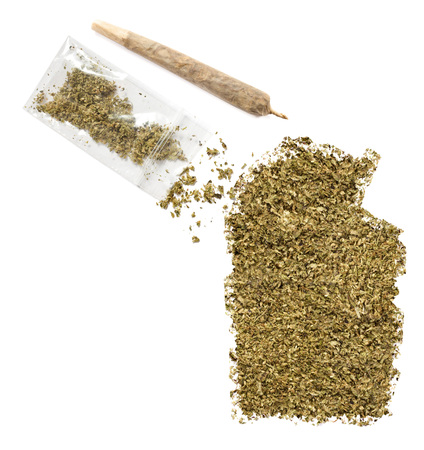 grinded: Grinded weed shaped as Northern Territory and a joint.(series)