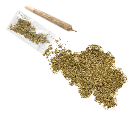 grinded: Grinded weed shaped as Belgium and a joint.(series)