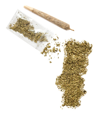 grinded: Grinded weed shaped as Portugal and a joint.(series)