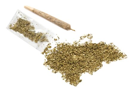 grinded: Grinded weed shaped as Honduras and a joint.(series)