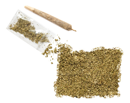 grinded: Grinded weed shaped as Oregon and a joint.(series) Stock Photo