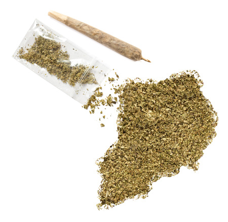 grinded: Grinded weed shaped as Uganda and a joint.(series)