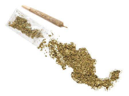 Grinded weed shaped as Mexico and a joint.(series) Stock Photo