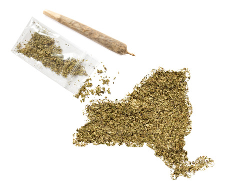 grinded: Grinded weed shaped as New York and a joint.(series) Stock Photo