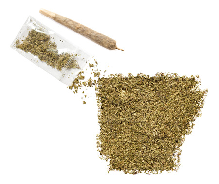 grinded: Grinded weed shaped as Arkansas and a joint.(series) Stock Photo