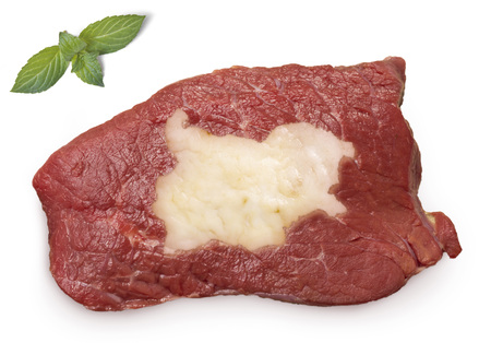 veal sausage: Raw meat (roast beef) and fat composed into it in the shape of Bulgaria.(series) Stock Photo