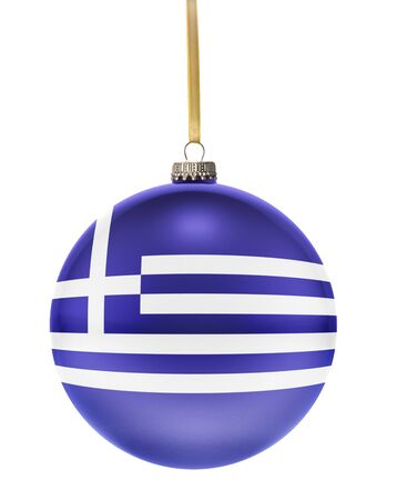 national colors: A glossy christmas ball in the national colors of Greece hanging on a golden string isolated on a white background.(series) Stock Photo