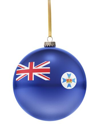 queensland: A glossy christmas ball in the national colors of Queensland hanging on a golden string isolated on a white background.(series)
