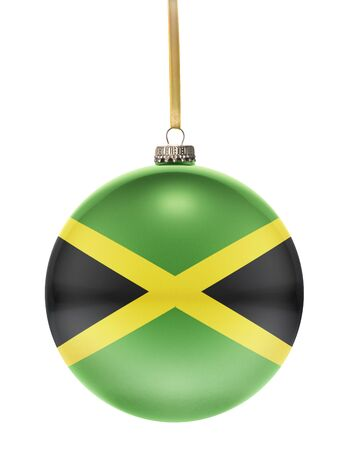 hanging string: A glossy christmas ball in the national colors of Jamaica hanging on a golden string isolated on a white background.(series)