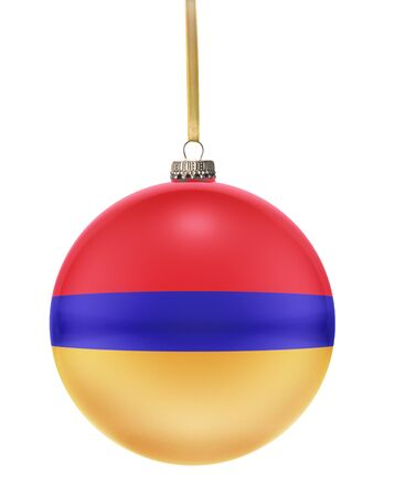 national colors: A glossy christmas ball in the national colors of Armenia hanging on a golden string isolated on a white background.(series) Stock Photo