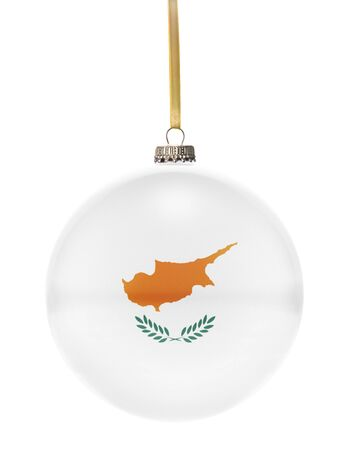 national colors: A glossy christmas ball in the national colors of Cyprus hanging on a golden string isolated on a white background.(series)