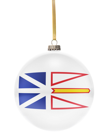 newfoundland: A glossy christmas ball in the national colors of Newfoundland hanging on a golden string isolated on a white background.(series)
