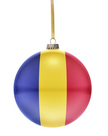 national colors: A glossy christmas ball in the national colors of Romania hanging on a golden string isolated on a white background.(series) Stock Photo