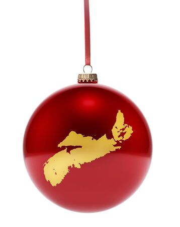 nova: A hanging glossy red bauble with the golden shape of Nova Scotia.(series)