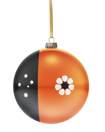 glass christmas tree ornament: A glossy christmas ball in the national colors of Northern Territory hanging on a golden string isolated on a white background.(series) Stock Photo