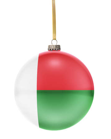 hanging string: A glossy christmas ball in the national colors of Madagascar hanging on a golden string isolated on a white background.(series)