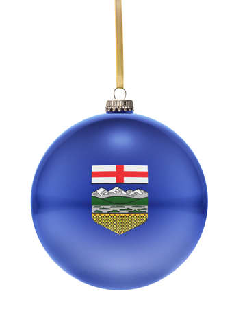 alberta: A glossy christmas ball in the national colors of Alberta hanging on a golden string isolated on a white background.(series)