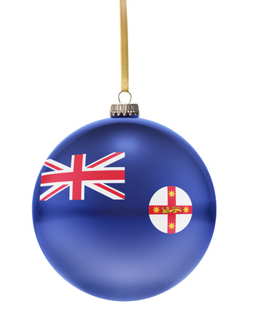 glass christmas tree ornament: A glossy christmas ball in the national colors of New South Wales hanging on a golden string isolated on a white background.(series)