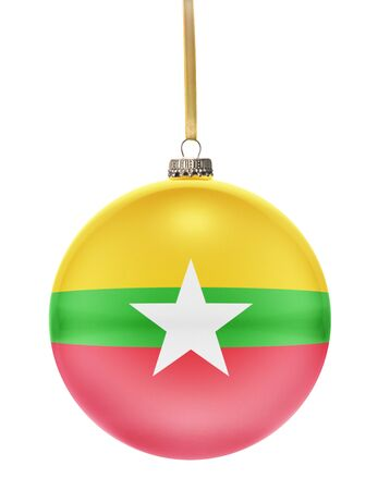 burmese: A glossy christmas ball in the national colors of Burma hanging on a golden string isolated on a white background.(series) Stock Photo
