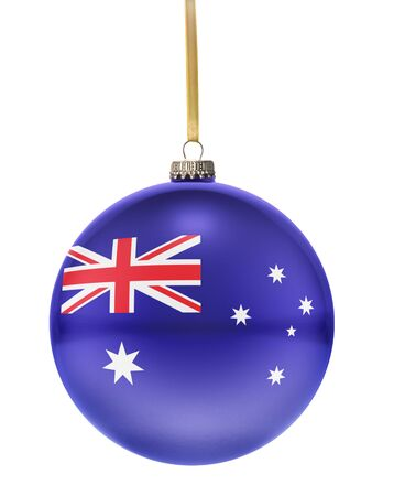 tree decorations: A glossy christmas ball in the national colors of Australia hanging on a golden string isolated on a white background.(series) Stock Photo